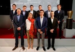 Back row: Frédéric Vervisch, Dries Vanthoor, Pierre Kaffer, Christopher Mies, Robin Frijns, Markus Winkelhock. Front row: Frank Stippler, Rahel Frey, Kelvin van der Linde, Christopher Haase
