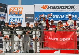 Team Phoenix Racing with Audi Sport customer racing celebrate one-two victory with new Audi R8 LMS in the GT4 class